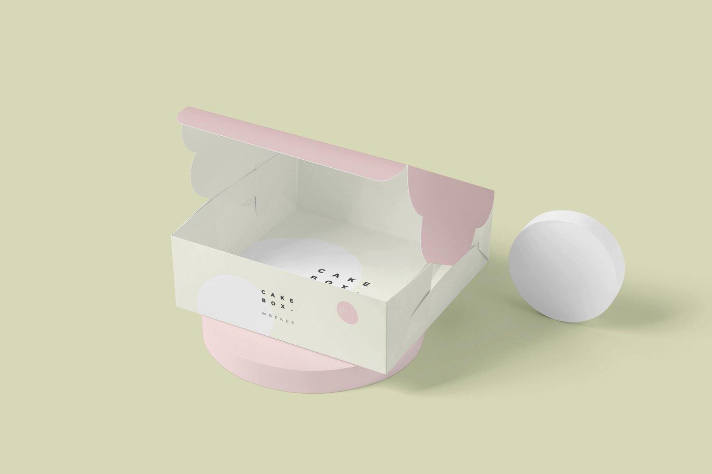 方形蛋糕纸板盒设计展示样机 Large Square Cake Cardboard Box Mockups插图(1)