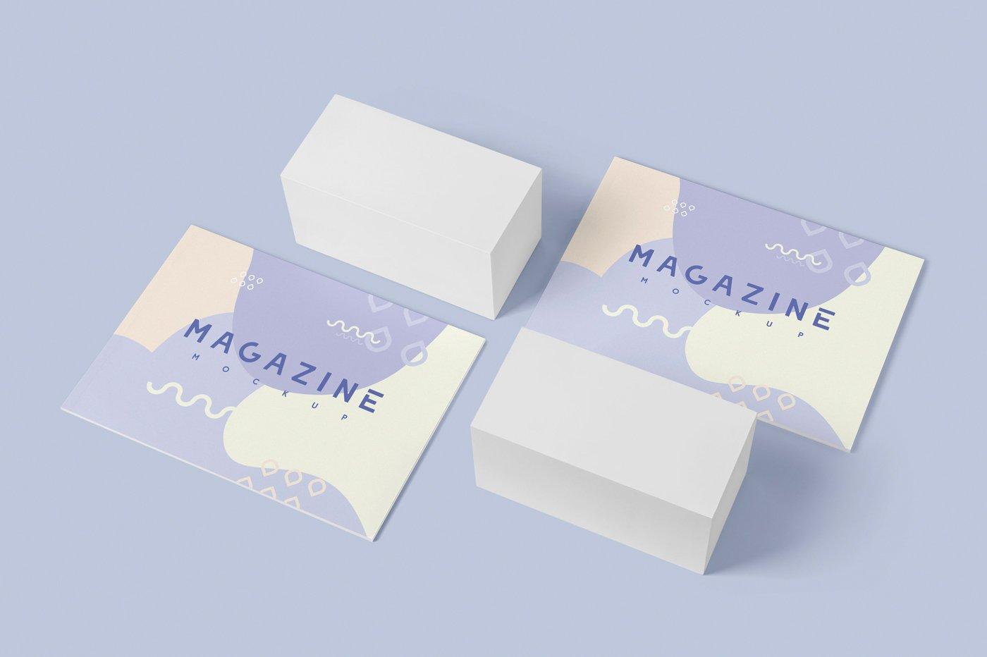 A4横版宣传画册设计展示样机 A4 Horizontal Brochure Mockups插图(2)