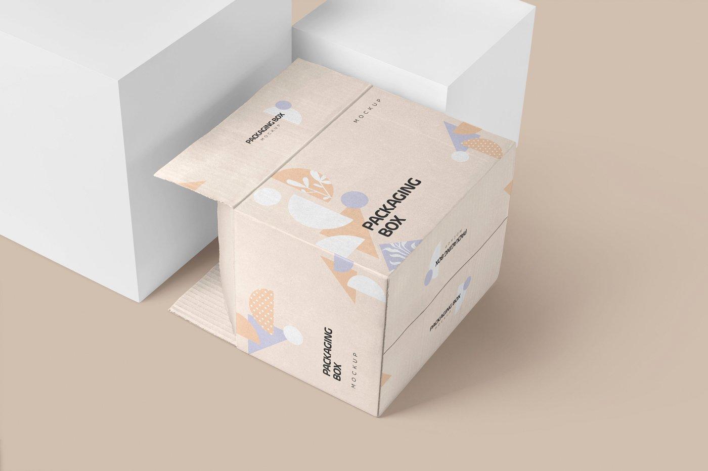矩形瓦楞硬纸板快递包装箱设计展示样机 Rectangular Cardboard Box Mockups插图(2)