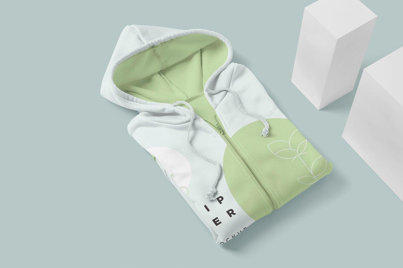 拉链连衣帽卫衣印花设计展示样机模板 Zipper Hoodie Mockup Templates插图(2)