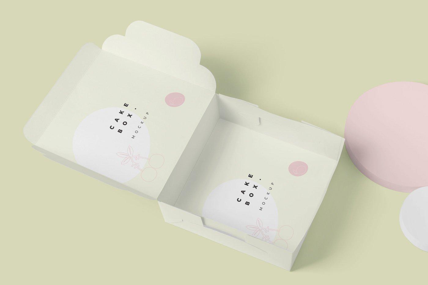 方形蛋糕纸板盒设计展示样机 Large Square Cake Cardboard Box Mockups插图(2)