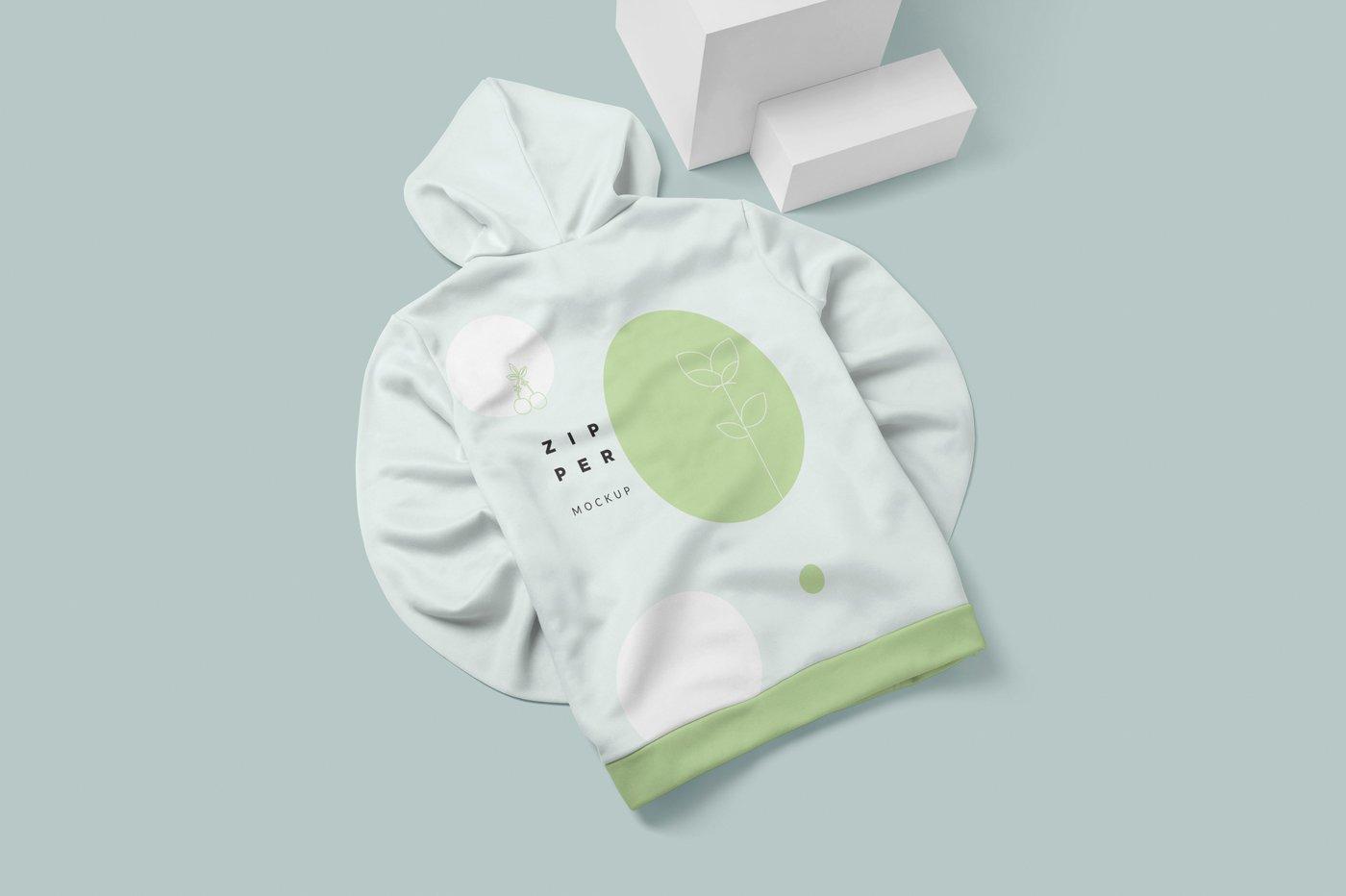 拉链连衣帽卫衣印花设计展示样机模板 Zipper Hoodie Mockup Templates插图(3)