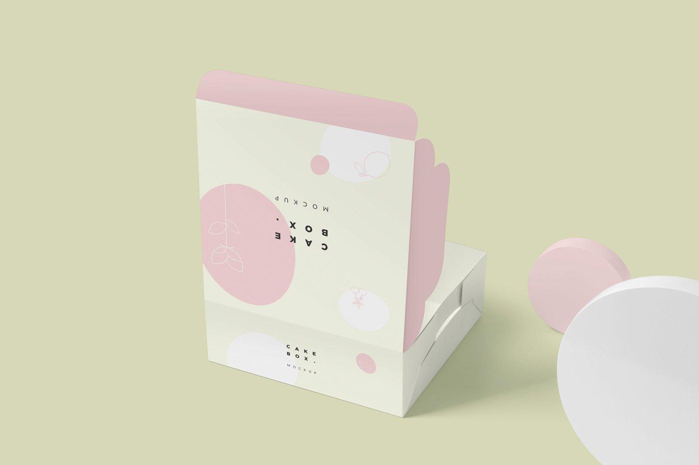 方形蛋糕纸板盒设计展示样机 Large Square Cake Cardboard Box Mockups插图(3)