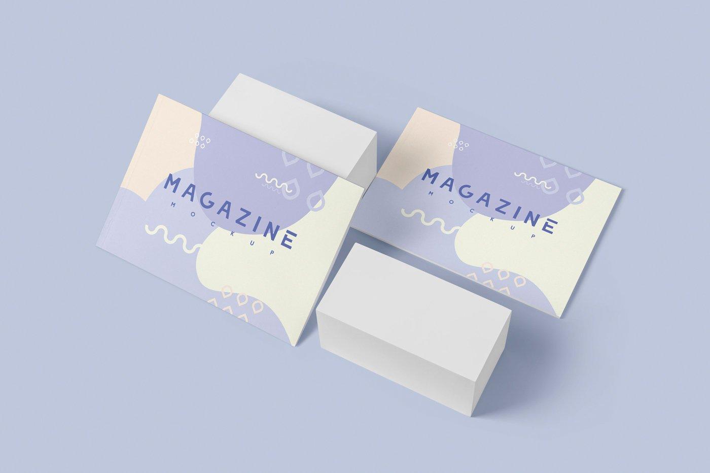 A4横版宣传画册设计展示样机 A4 Horizontal Brochure Mockups插图(4)