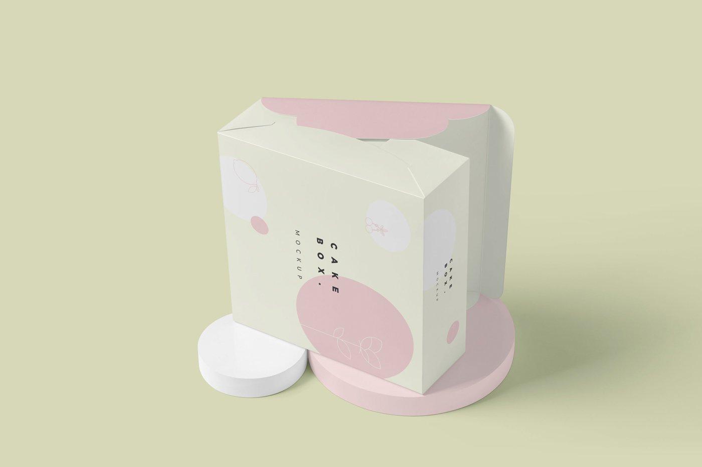方形蛋糕纸板盒设计展示样机 Large Square Cake Cardboard Box Mockups插图(4)