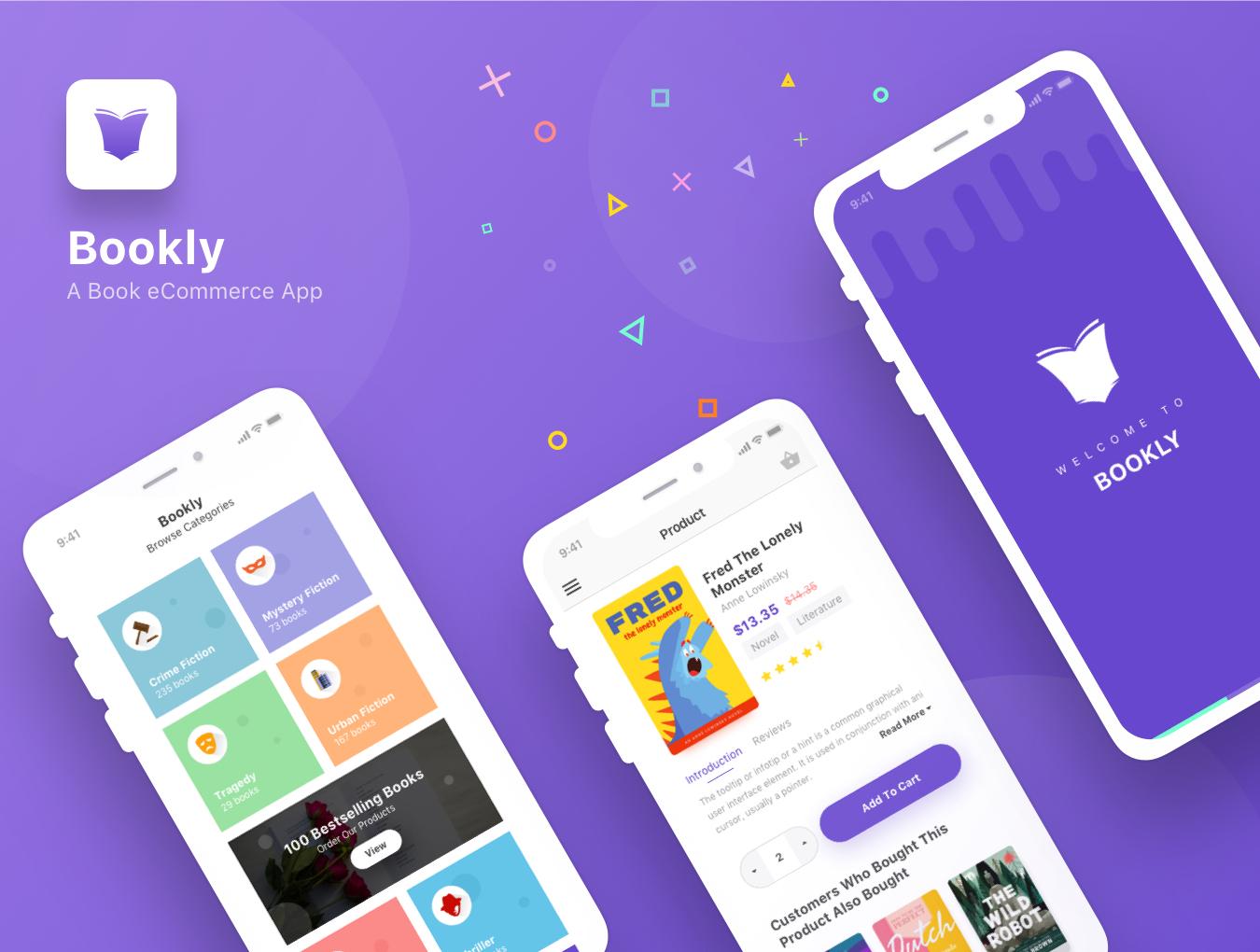现代时尚图书在线购买商城APP应用UI界面设计模板 Bookly iOS UI Kit插图