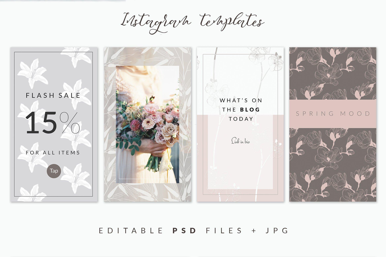 35款优雅花卉植物无缝隙矢量图案素材 35+ Patterns & 8 Instagram Templates插图(3)