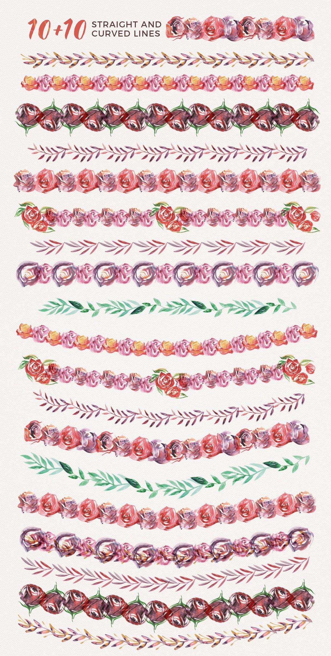 高清手绘花卉树叶水彩剪贴画PNG免抠图片素材 Watercolor Handmade Design Bundle插图(3)