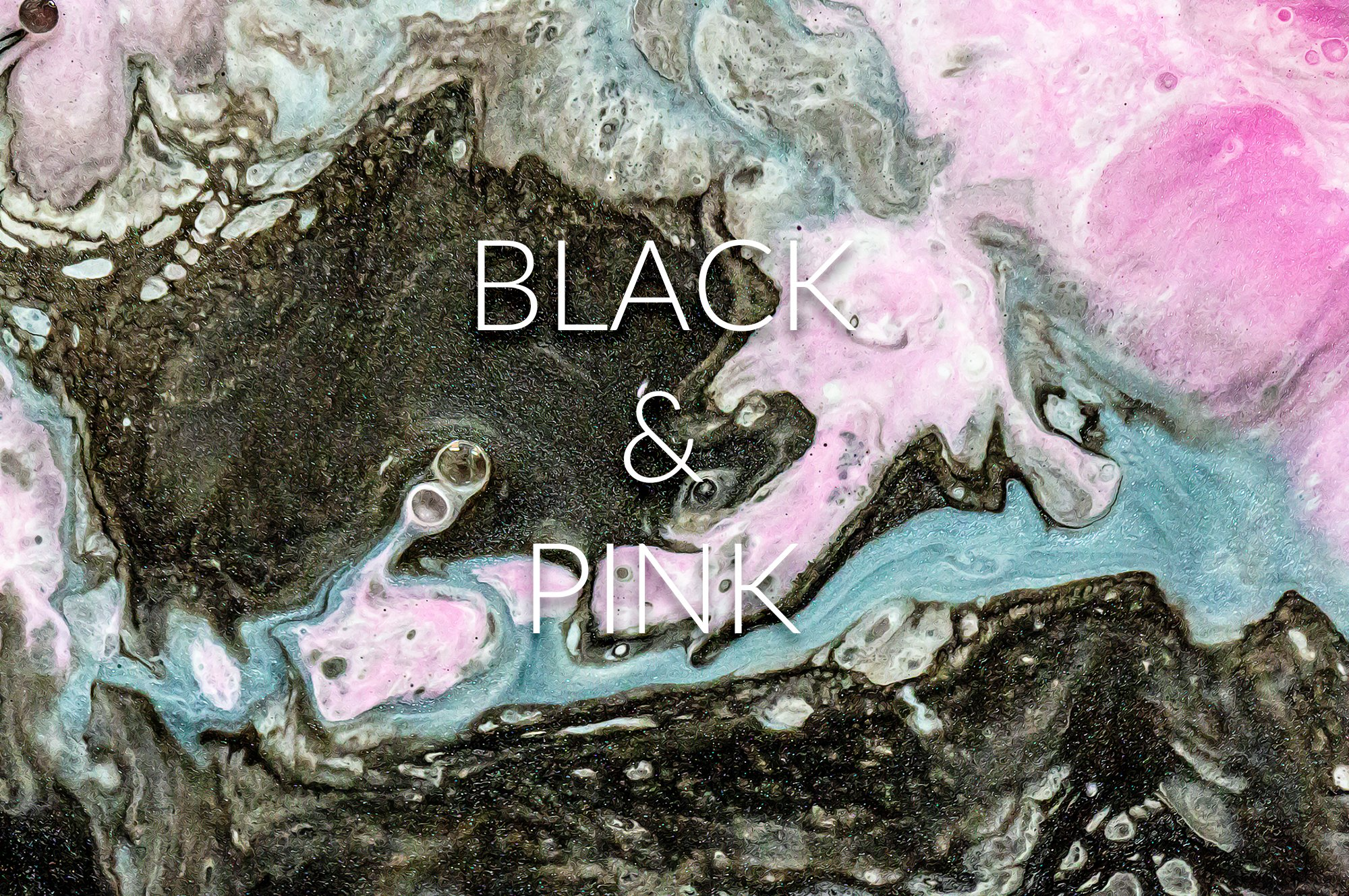 28款高清抽象流体黑色&粉色丙烯酸涂料背景纹理图片素材 Liquid Paint – Black&Pink Vol. 2插图