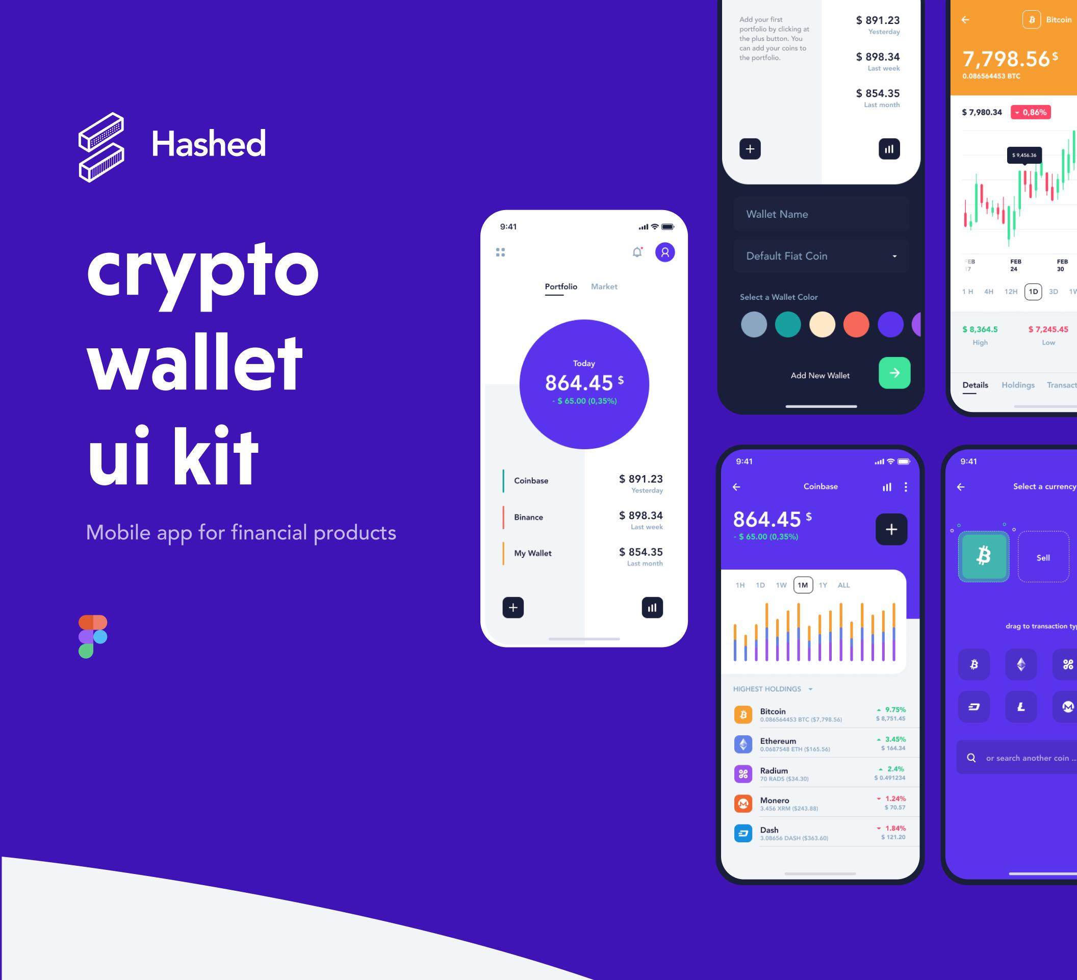 现代金融加密货币电子钱包APP应用设计UI套件 Hashed Wallet UI Kit插图