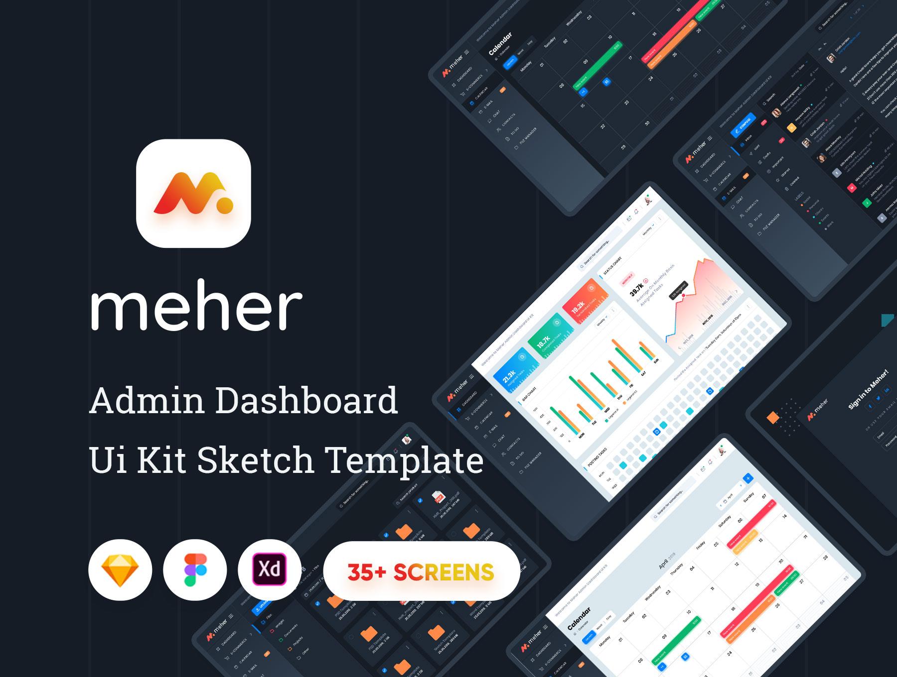 网站后台管理仪表板UI界面设计Sketch模板 Meher – Admin Dashboard Ui Kit Sketch Template插图