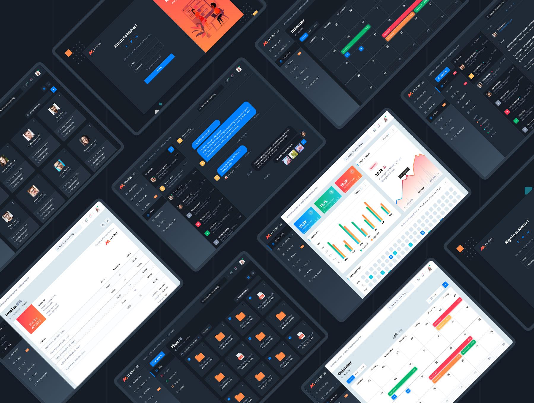 网站后台管理仪表板UI界面设计Sketch模板 Meher – Admin Dashboard Ui Kit Sketch Template插图(1)