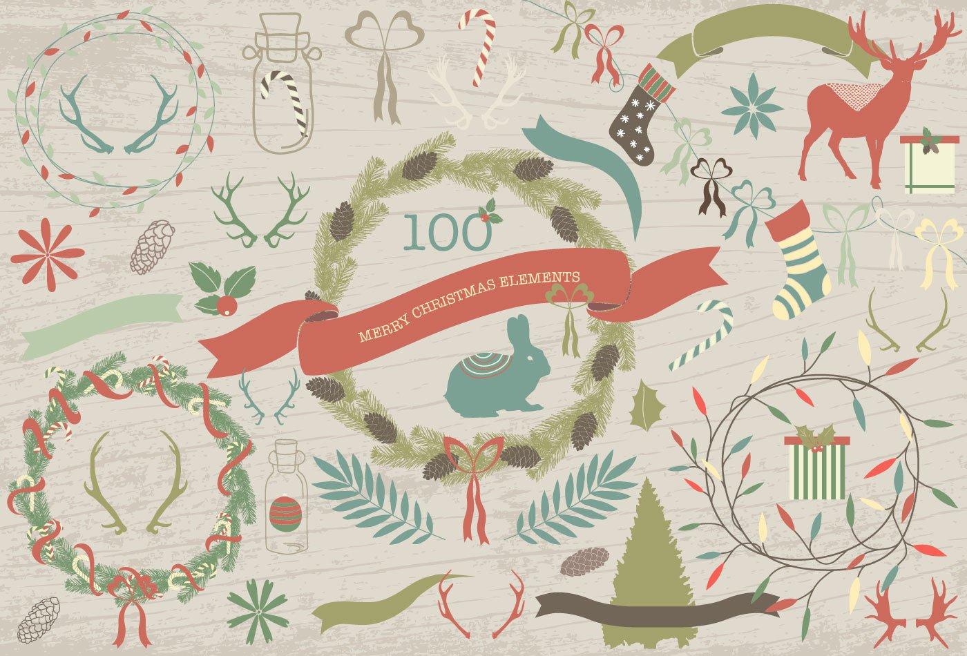 100款圣诞节主题元素矢量素材 100 Merry Christmas Elements插图