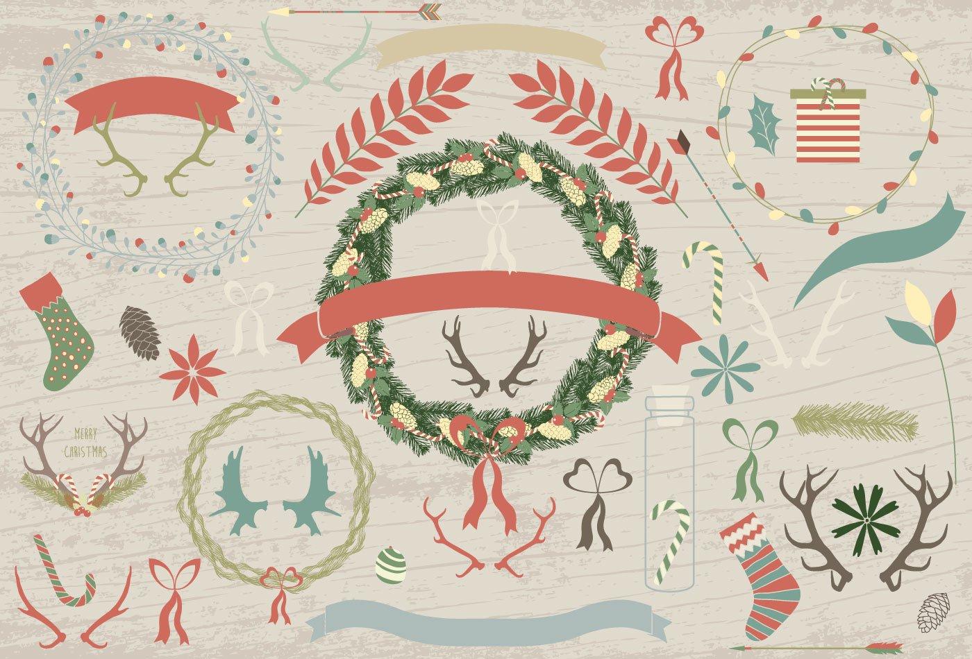 100款圣诞节主题元素矢量素材 100 Merry Christmas Elements插图(1)