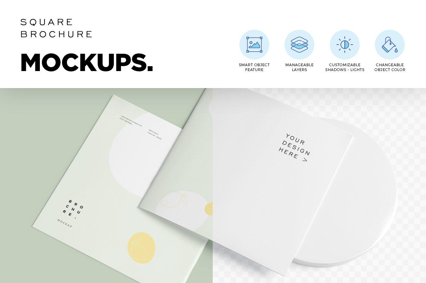 软封面方形小册子设计展示样机 Soft Cover Square Brochure Mockups插图(3)