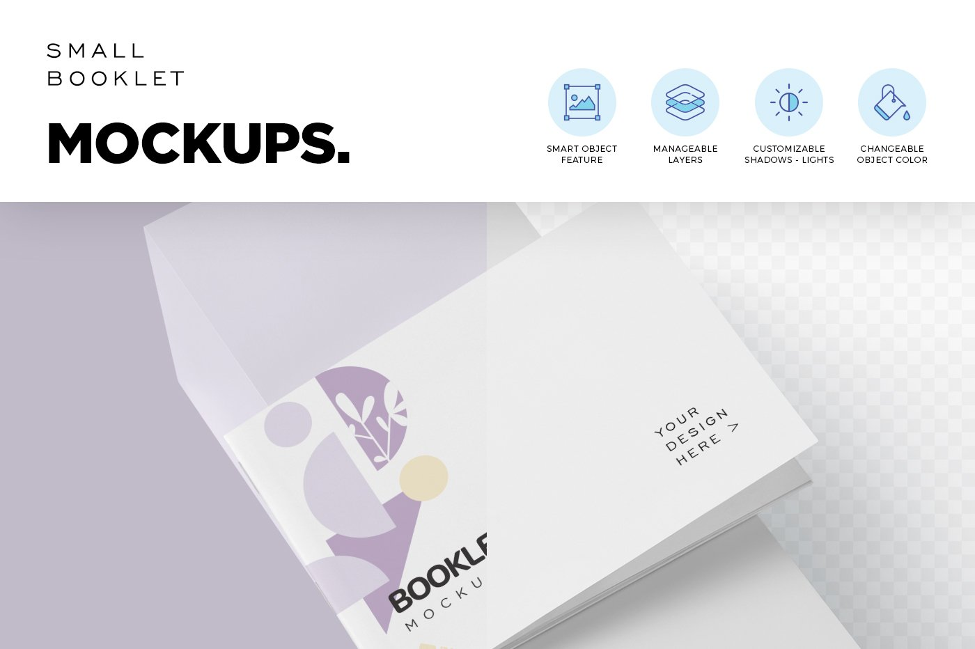 横版宣传手册画册设计展示样机模板 Landscape Booklet Mockup Templates插图(4)