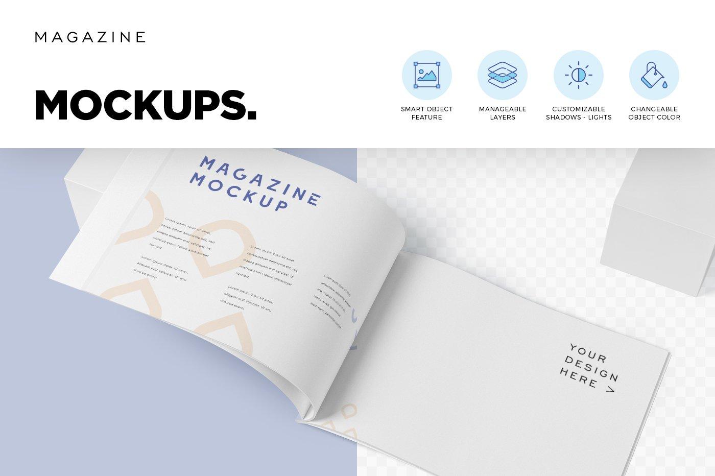 A4横版宣传画册设计展示样机 A4 Horizontal Brochure Mockups插图(5)