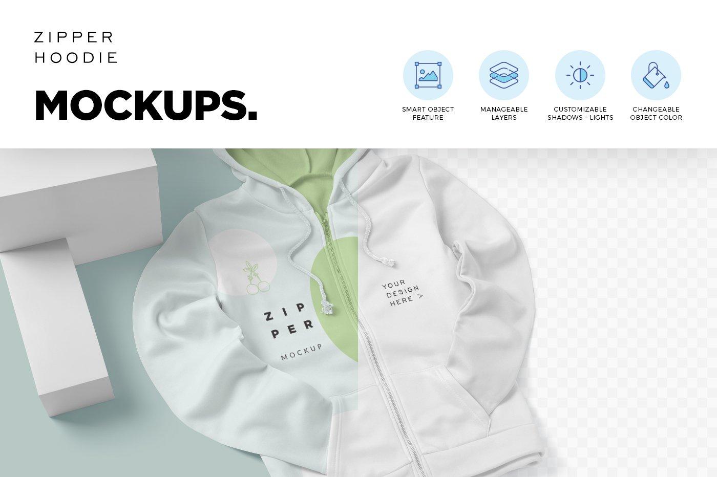 拉链连衣帽卫衣印花设计展示样机模板 Zipper Hoodie Mockup Templates插图(4)