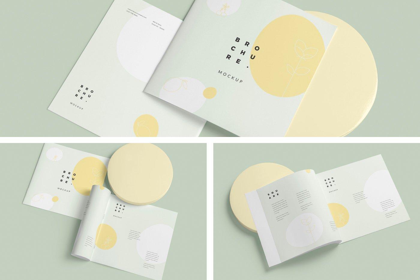 软封面方形小册子设计展示样机 Soft Cover Square Brochure Mockups插图(4)