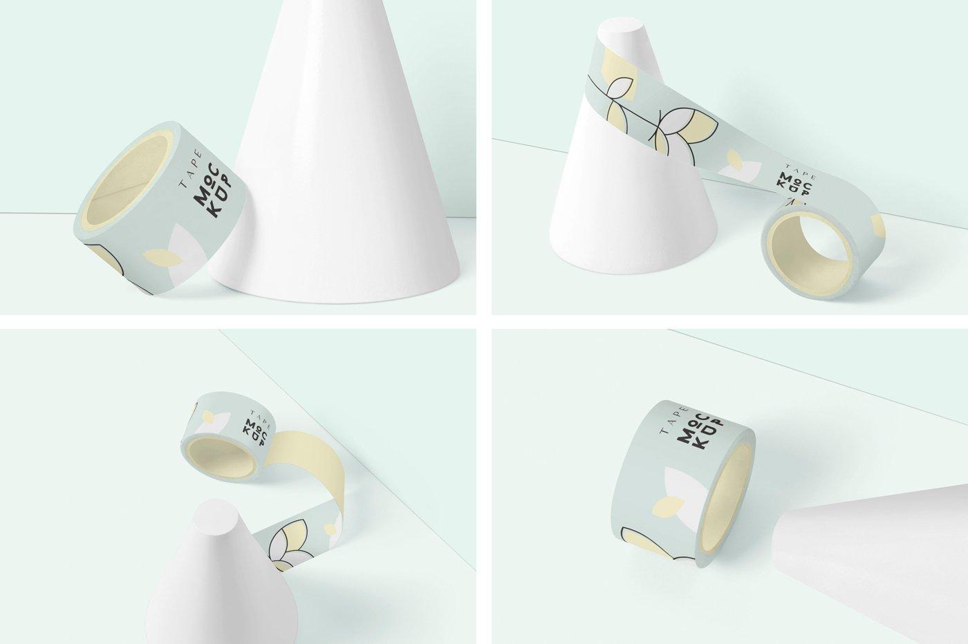 管状胶带设计展示样机模板 Small Packaging Tape Mockups插图(5)