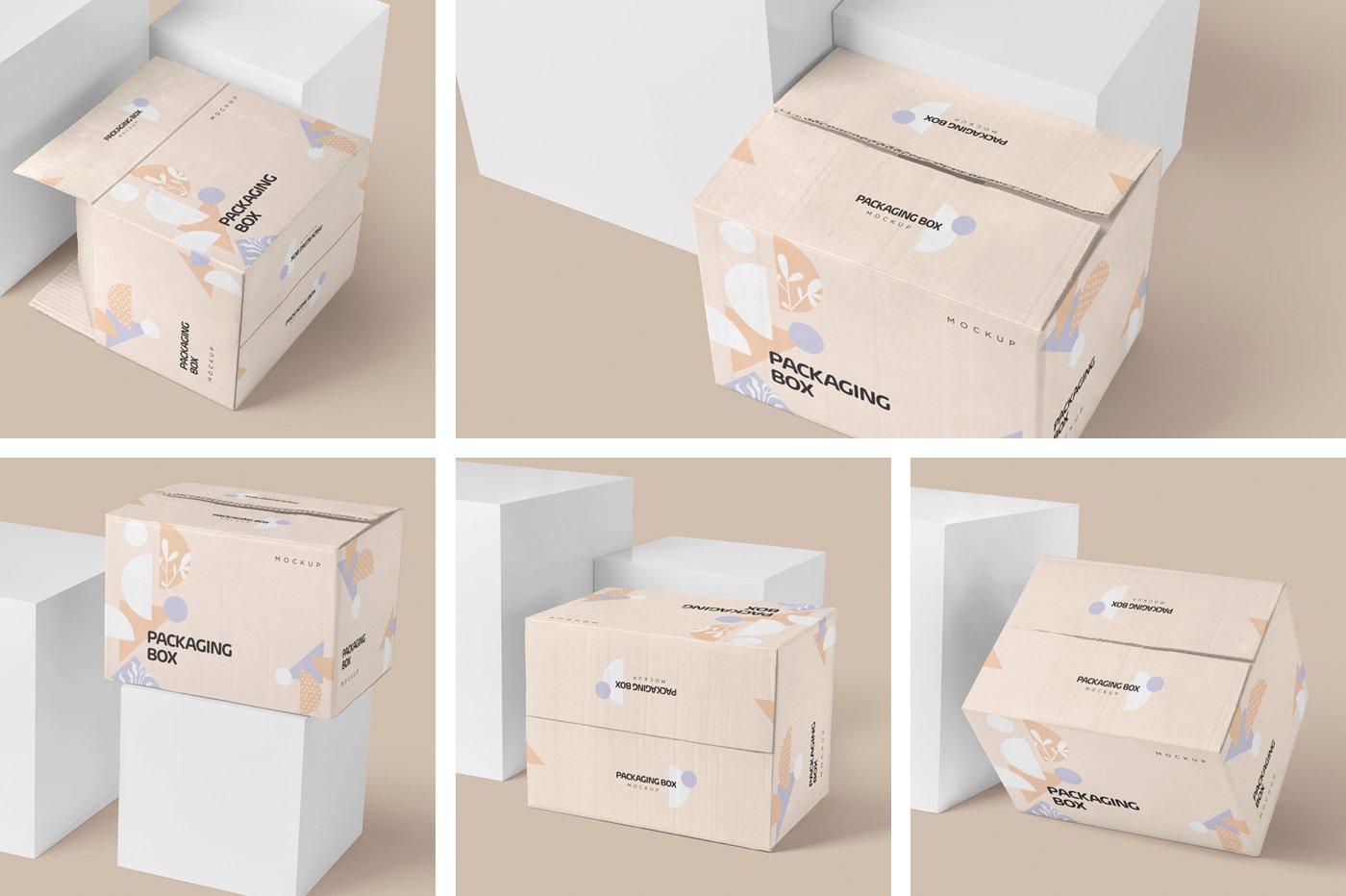 矩形瓦楞硬纸板快递包装箱设计展示样机 Rectangular Cardboard Box Mockups插图(6)