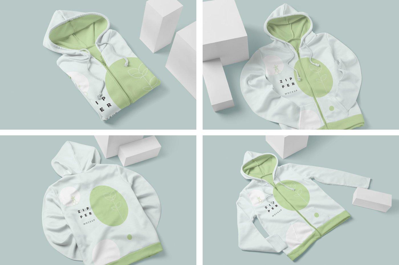 拉链连衣帽卫衣印花设计展示样机模板 Zipper Hoodie Mockup Templates插图(5)