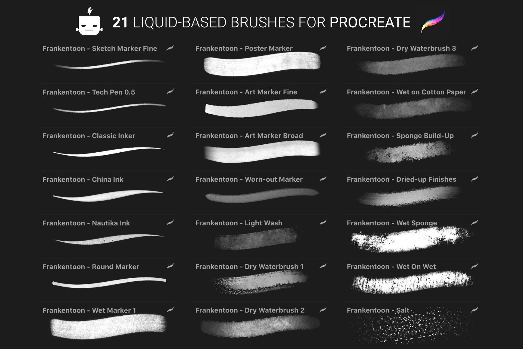 艺术绘画手绘水彩水墨Procreate笔刷 Nautika – Brush Pack for Procreate插图(8)