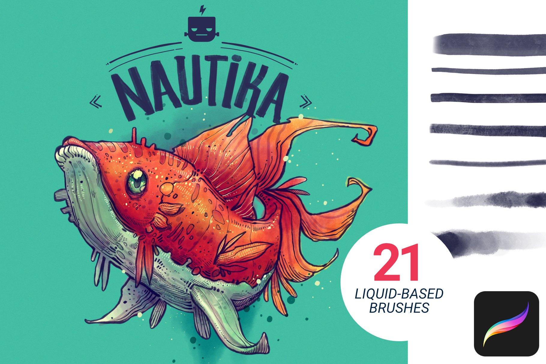 艺术绘画手绘水彩水墨Procreate笔刷 Nautika – Brush Pack for Procreate插图