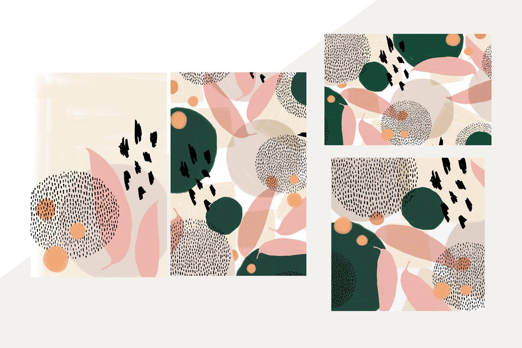 抽象有机形状图案矢量素材集 Komorebi Organic Shapes Pattern Set插图(1)