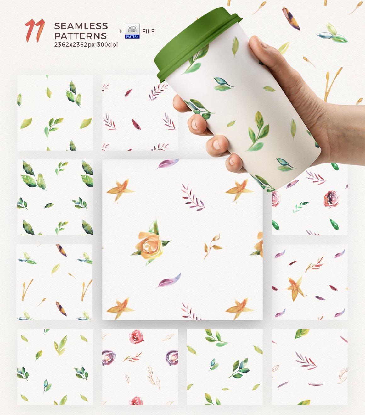 高清手绘花卉树叶水彩剪贴画PNG免抠图片素材 Watercolor Handmade Design Bundle插图(7)