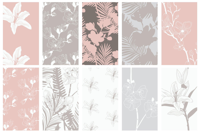 35款优雅花卉植物无缝隙矢量图案素材 35+ Patterns & 8 Instagram Templates插图(8)