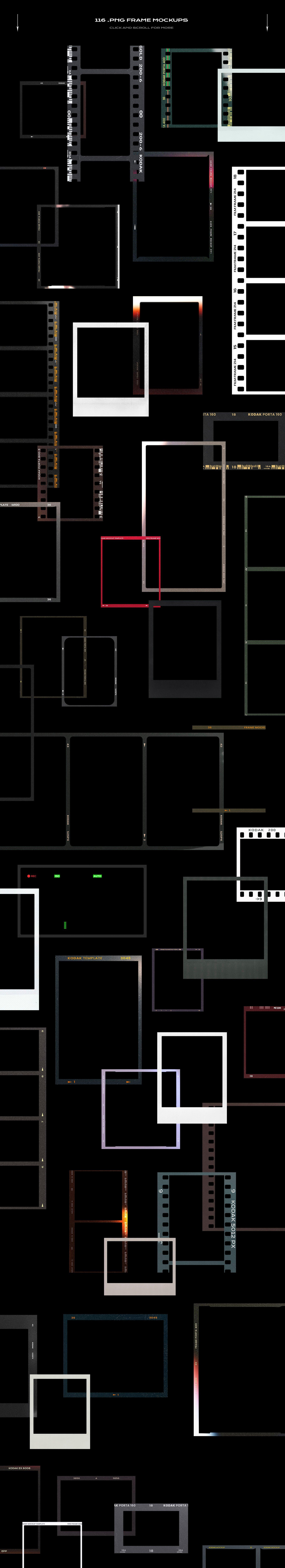 120款复古质感胶卷底片相片边框特效滤镜样机模板 Film Frame Mockup Template Bundle插图(91)