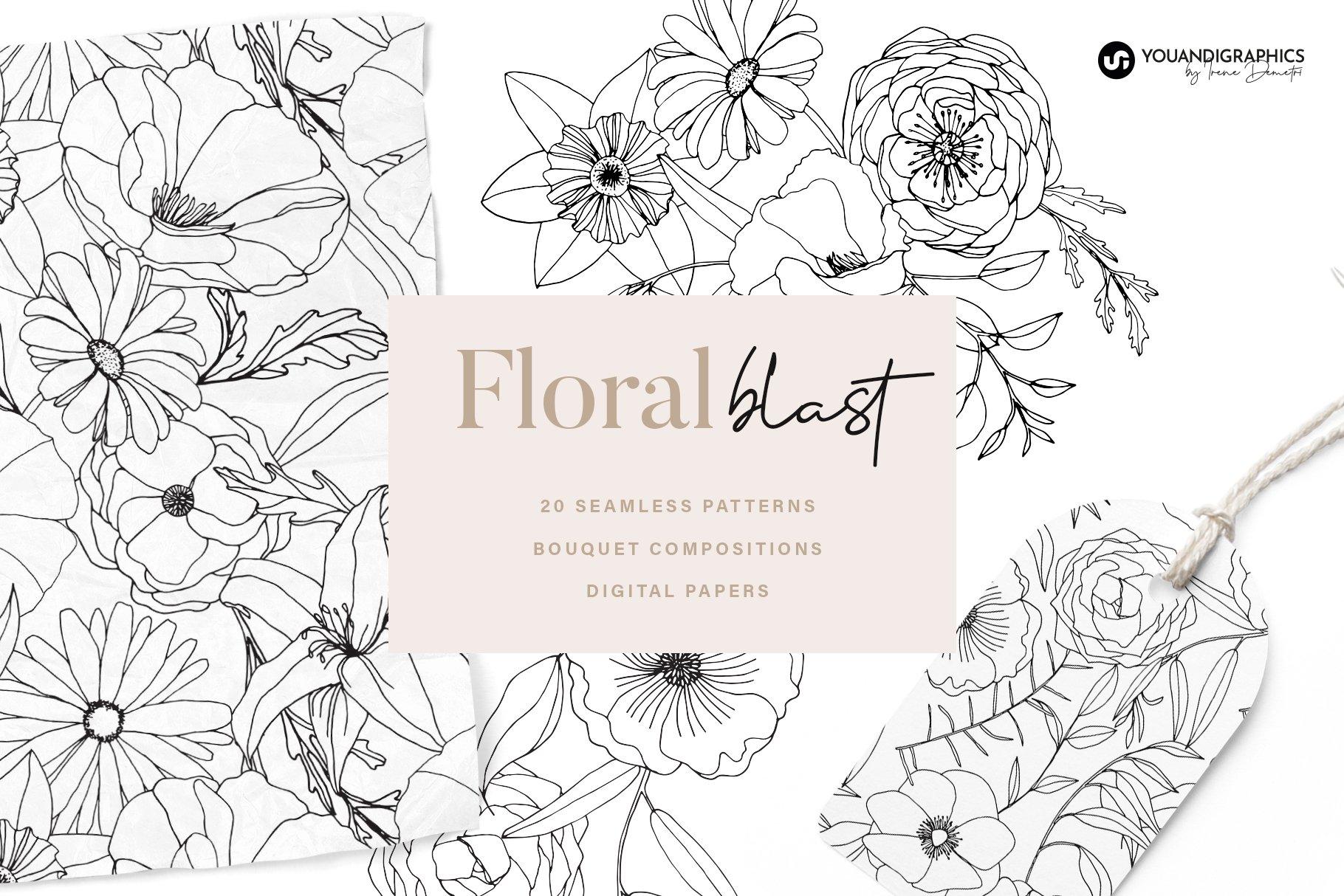 精美手绘花卉花朵无缝隙矢量线稿图案素材 Floral Blast Patterns And Bouquets插图
