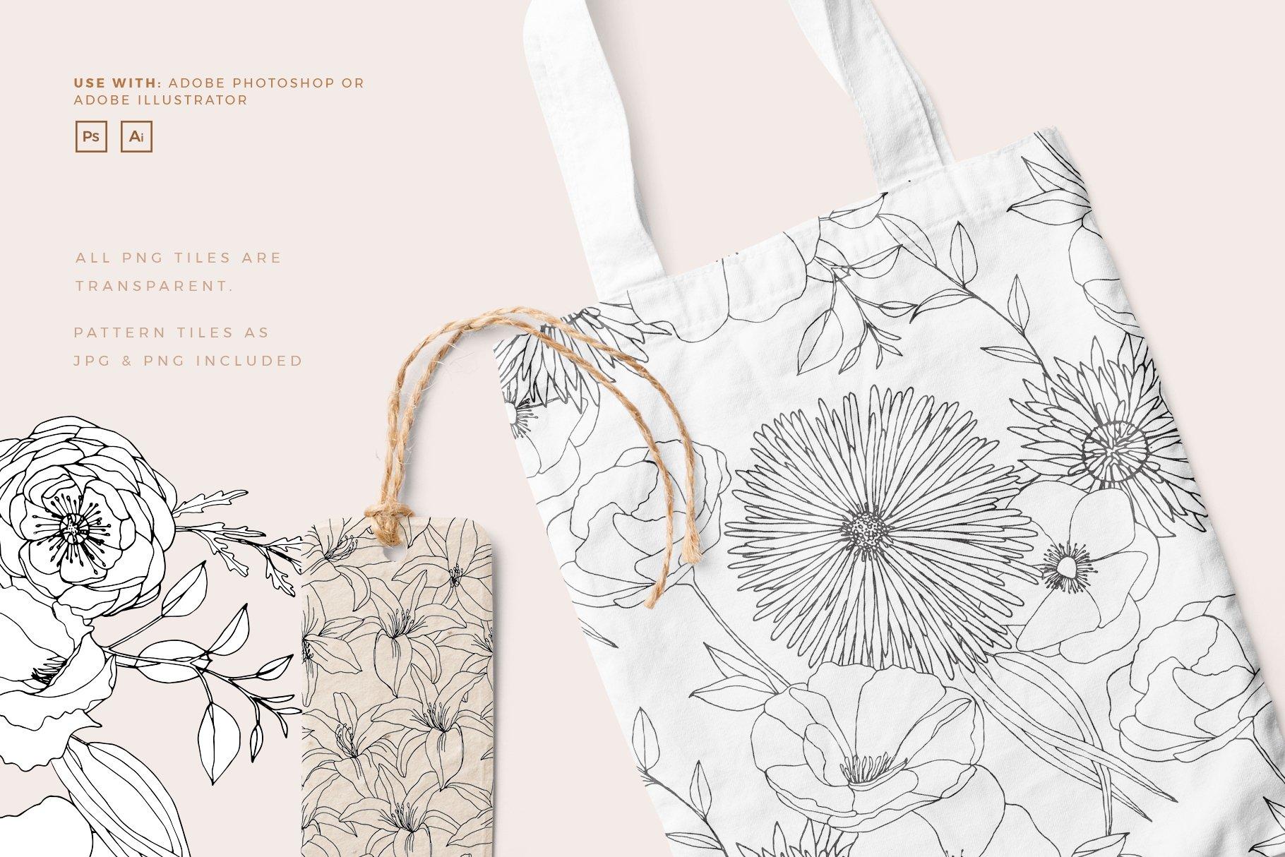 精美手绘花卉花朵无缝隙矢量线稿图案素材 Floral Blast Patterns And Bouquets插图(2)