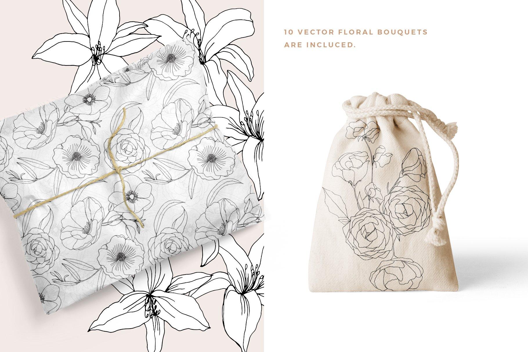 精美手绘花卉花朵无缝隙矢量线稿图案素材 Floral Blast Patterns And Bouquets插图(3)