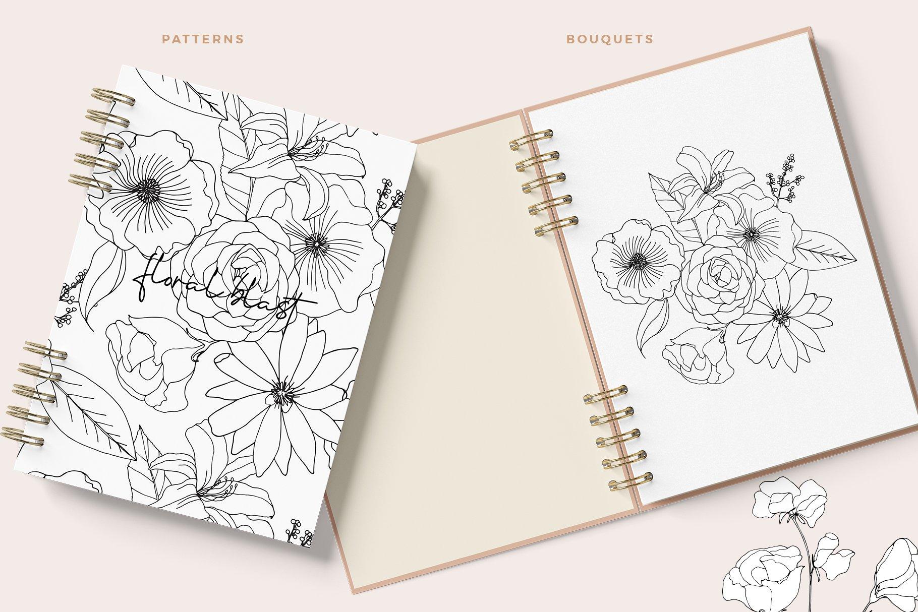 精美手绘花卉花朵无缝隙矢量线稿图案素材 Floral Blast Patterns And Bouquets插图(4)