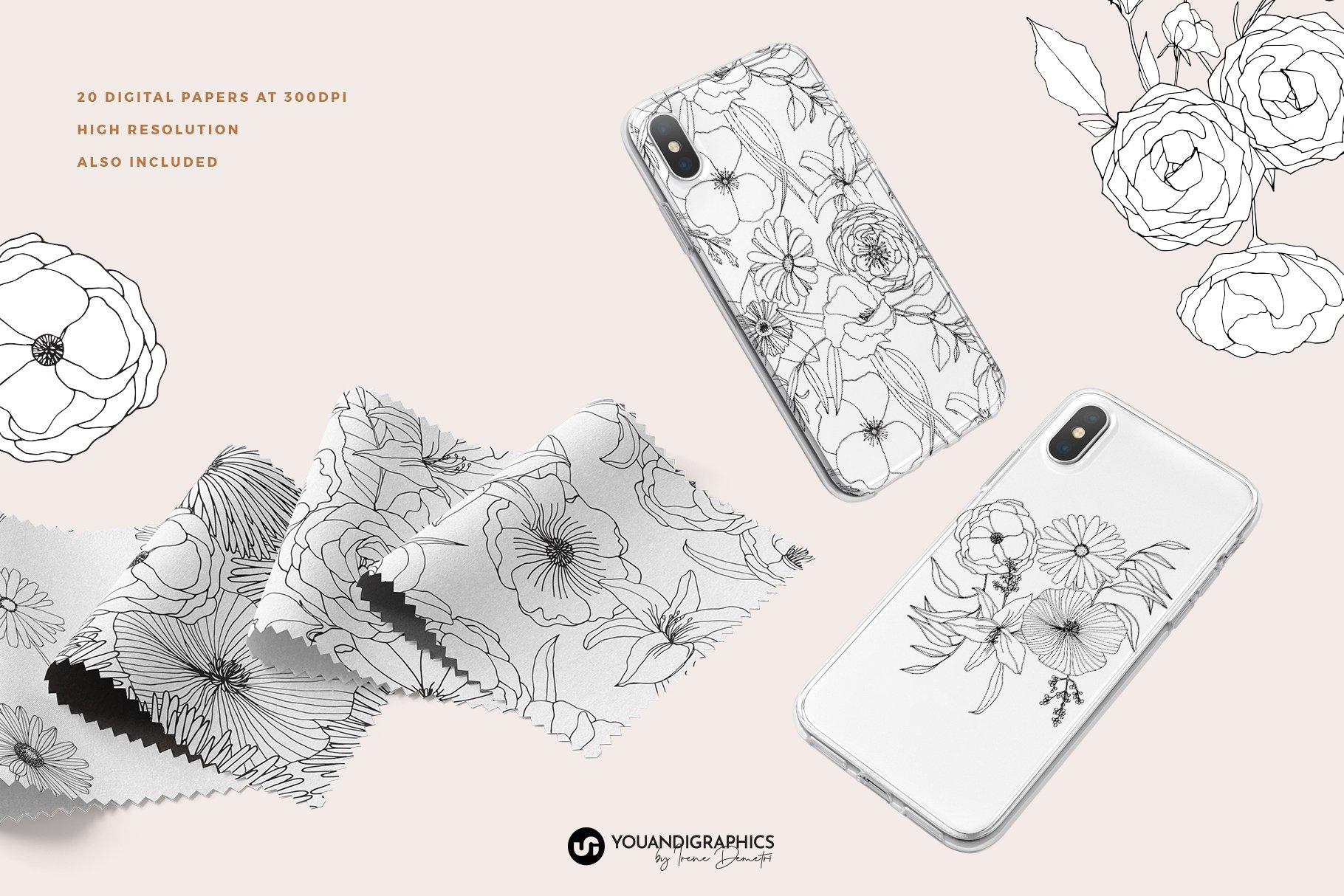 精美手绘花卉花朵无缝隙矢量线稿图案素材 Floral Blast Patterns And Bouquets插图(5)