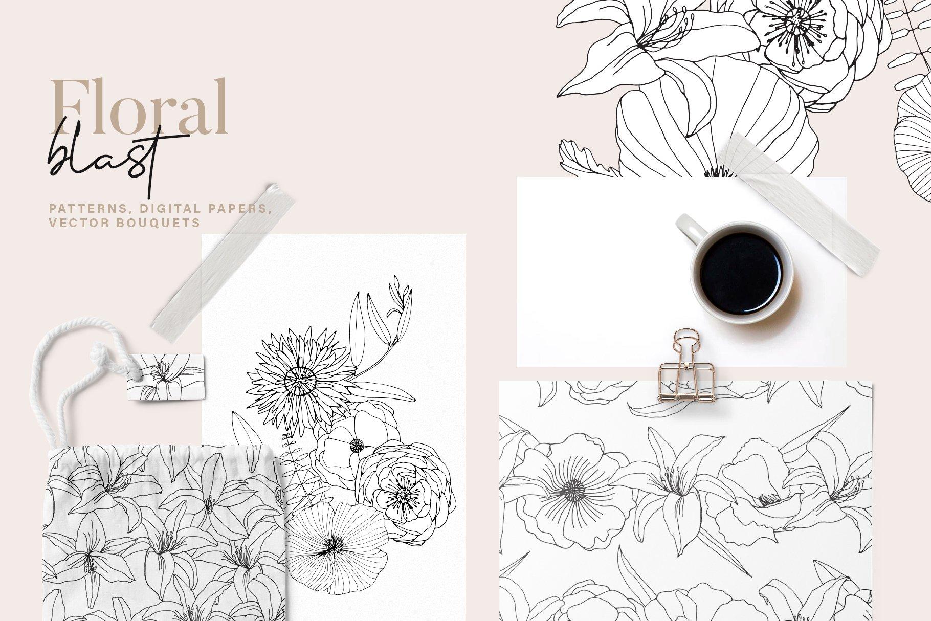 精美手绘花卉花朵无缝隙矢量线稿图案素材 Floral Blast Patterns And Bouquets插图(6)