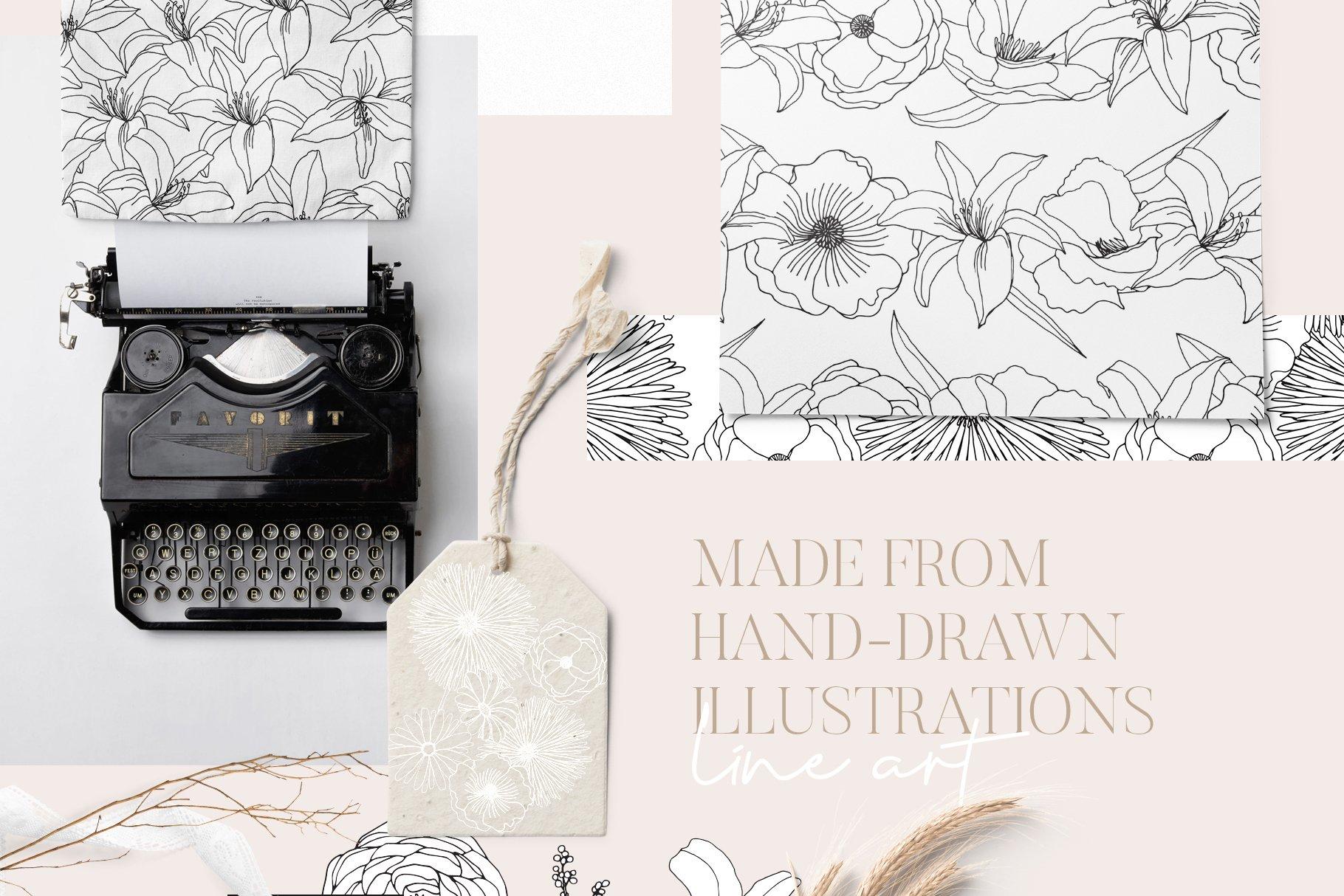 精美手绘花卉花朵无缝隙矢量线稿图案素材 Floral Blast Patterns And Bouquets插图(7)