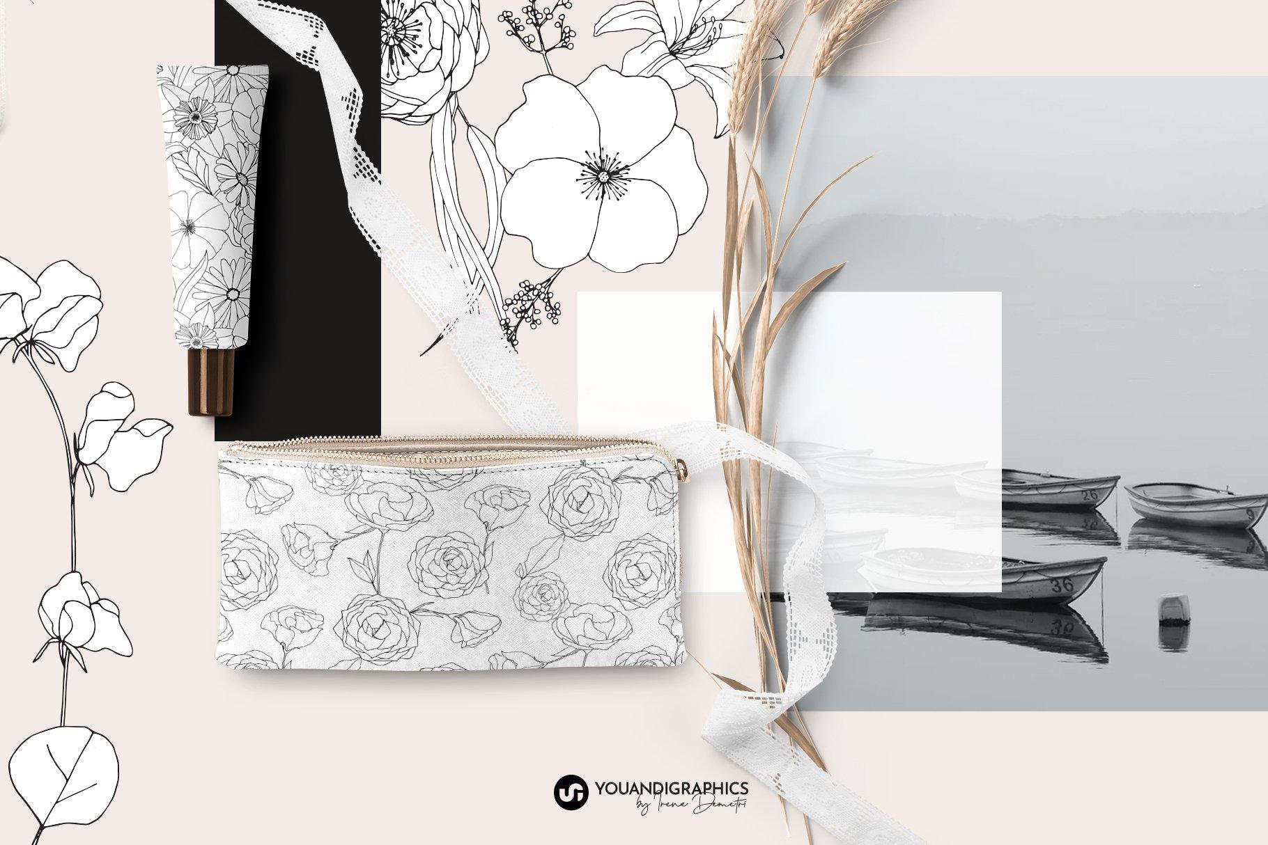 精美手绘花卉花朵无缝隙矢量线稿图案素材 Floral Blast Patterns And Bouquets插图(8)