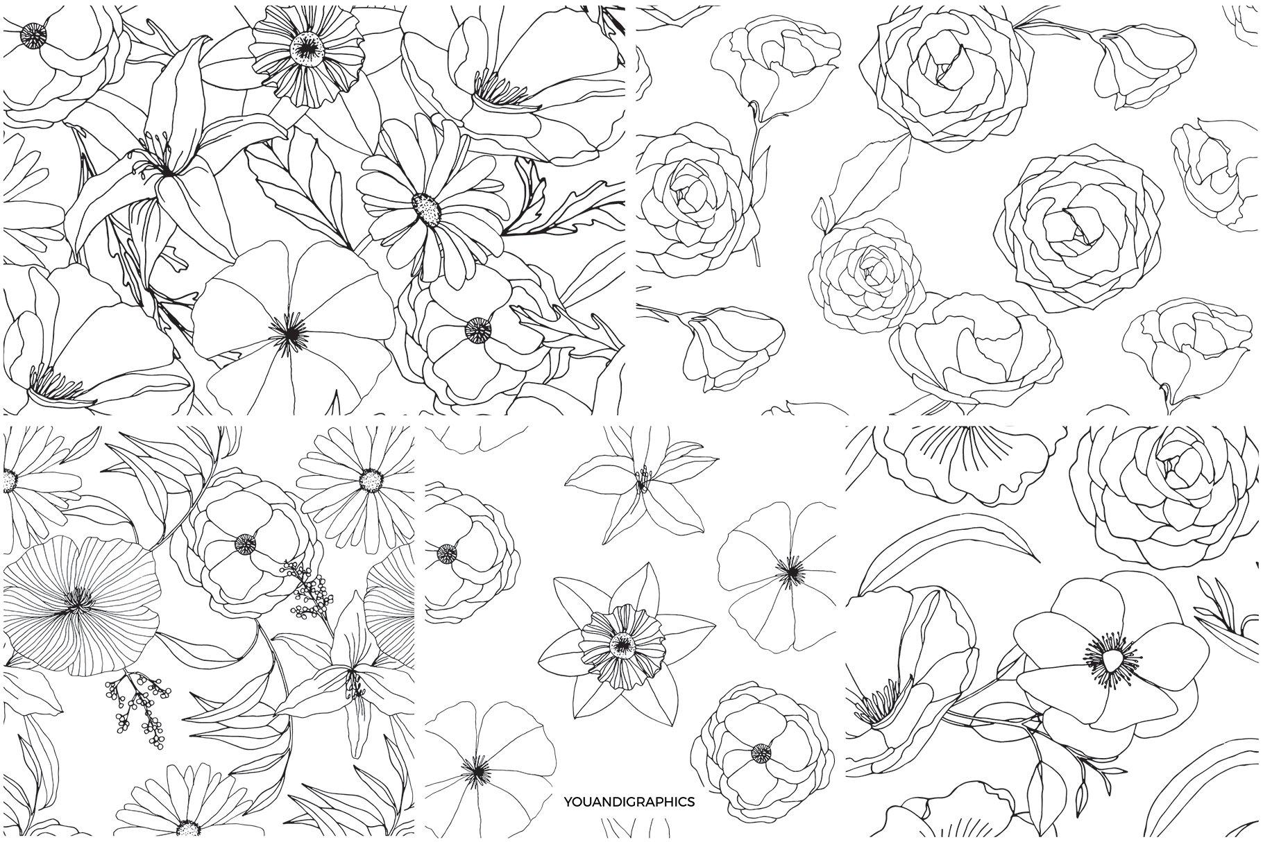 精美手绘花卉花朵无缝隙矢量线稿图案素材 Floral Blast Patterns And Bouquets插图(9)