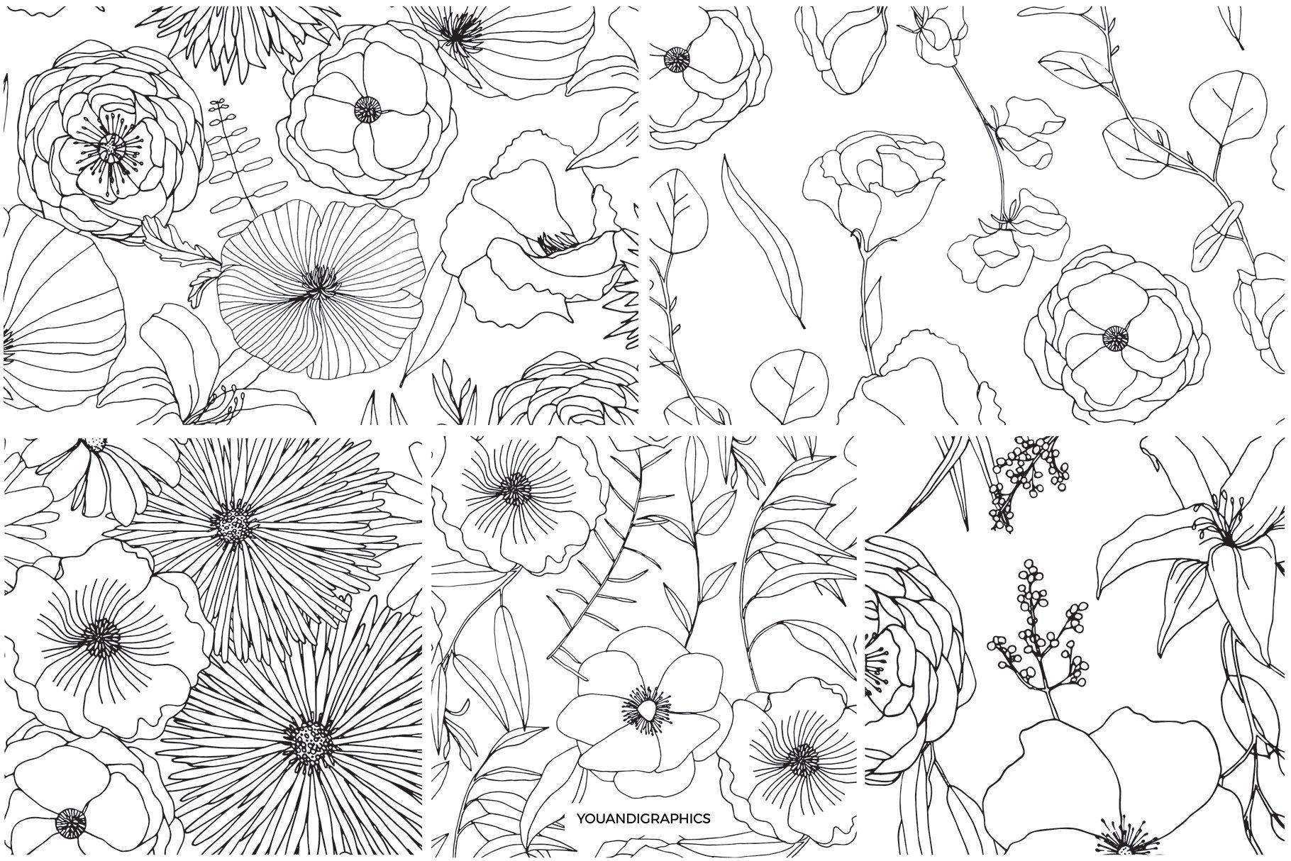 精美手绘花卉花朵无缝隙矢量线稿图案素材 Floral Blast Patterns And Bouquets插图(10)