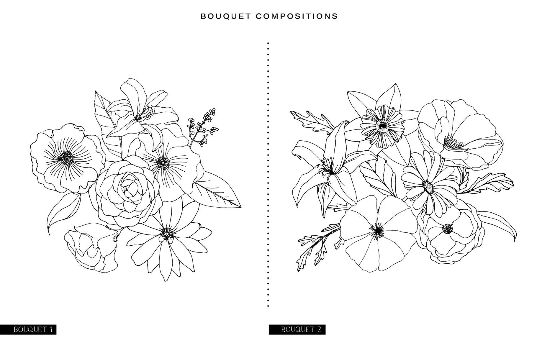 精美手绘花卉花朵无缝隙矢量线稿图案素材 Floral Blast Patterns And Bouquets插图(13)