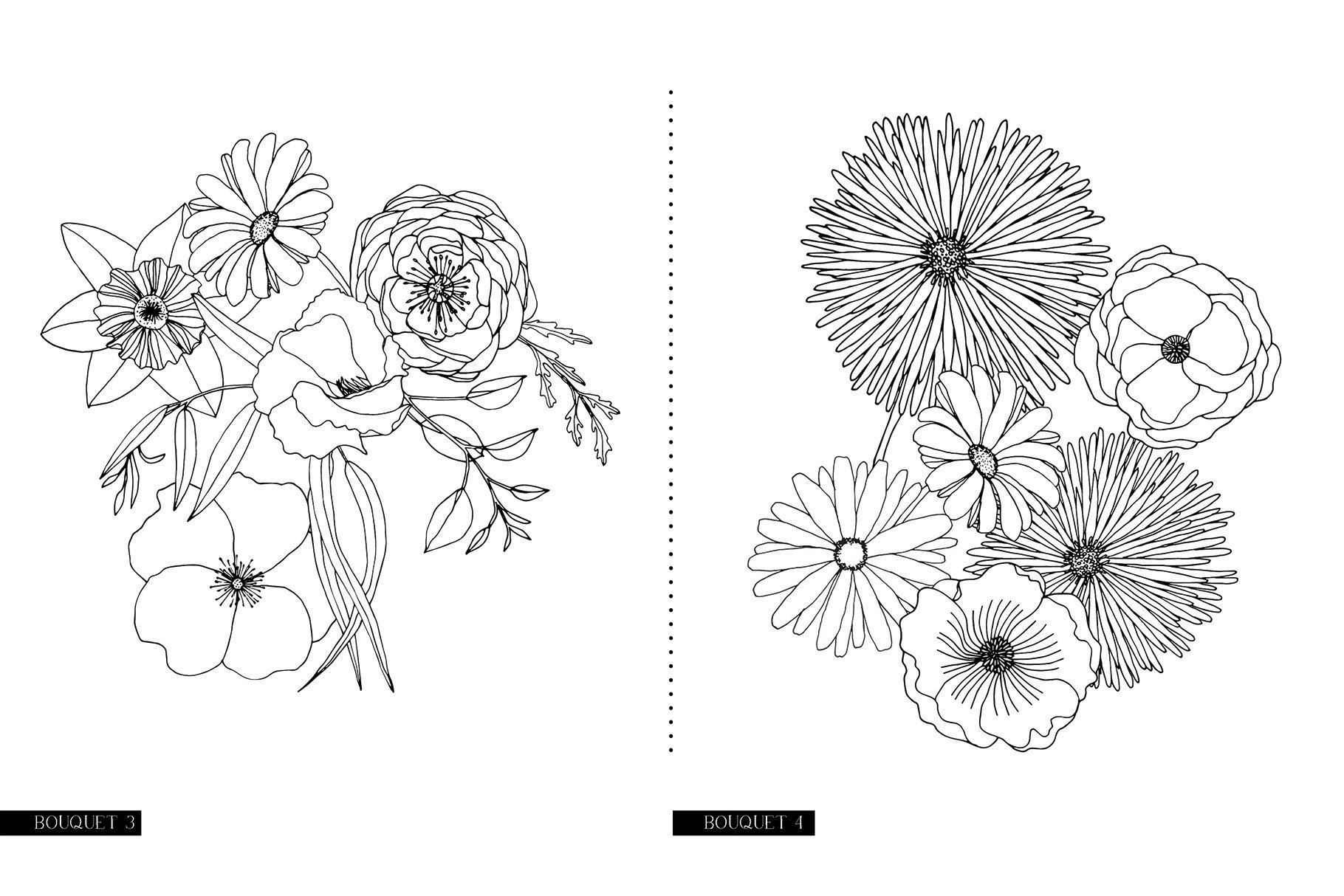 精美手绘花卉花朵无缝隙矢量线稿图案素材 Floral Blast Patterns And Bouquets插图(14)