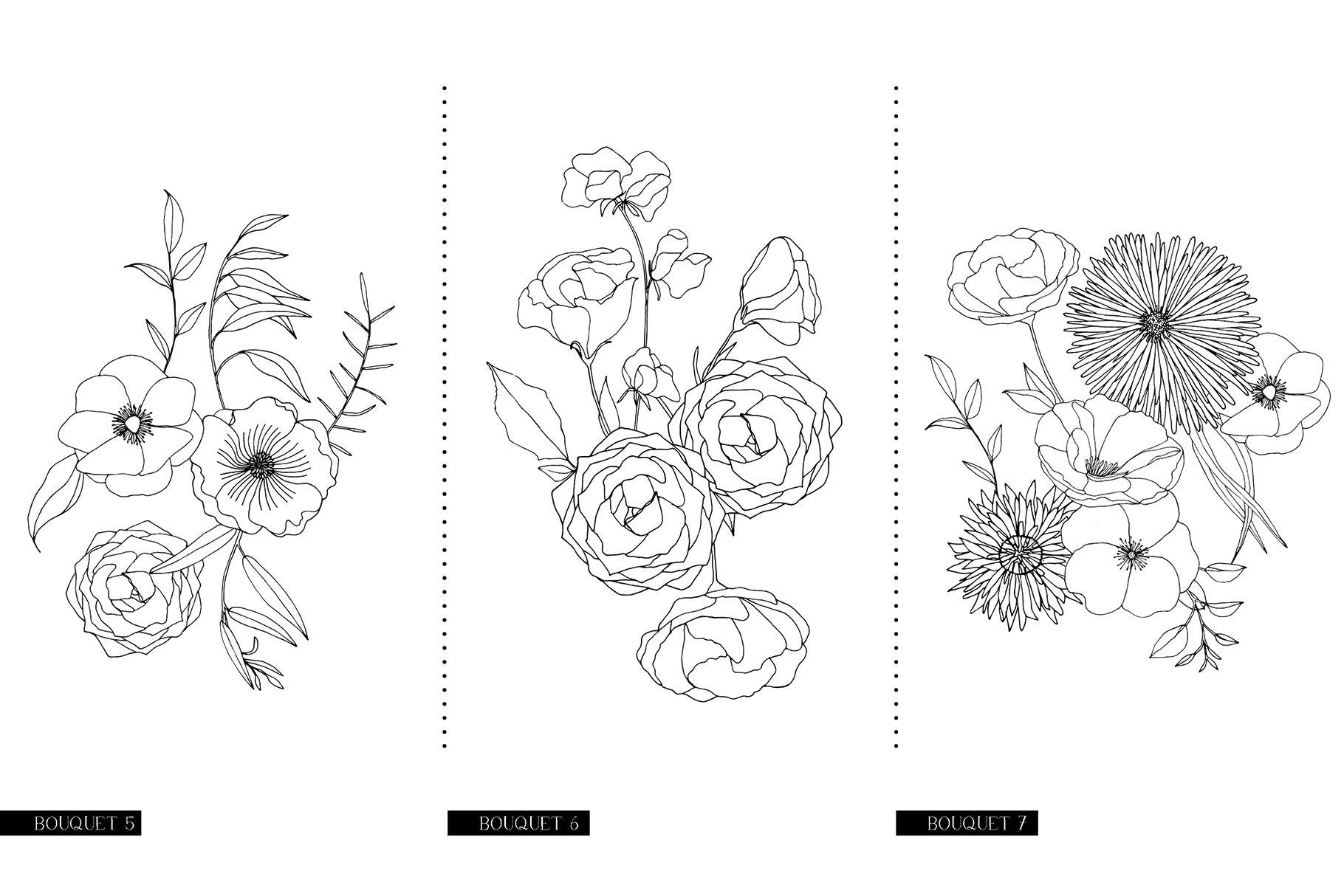 精美手绘花卉花朵无缝隙矢量线稿图案素材 Floral Blast Patterns And Bouquets插图(15)