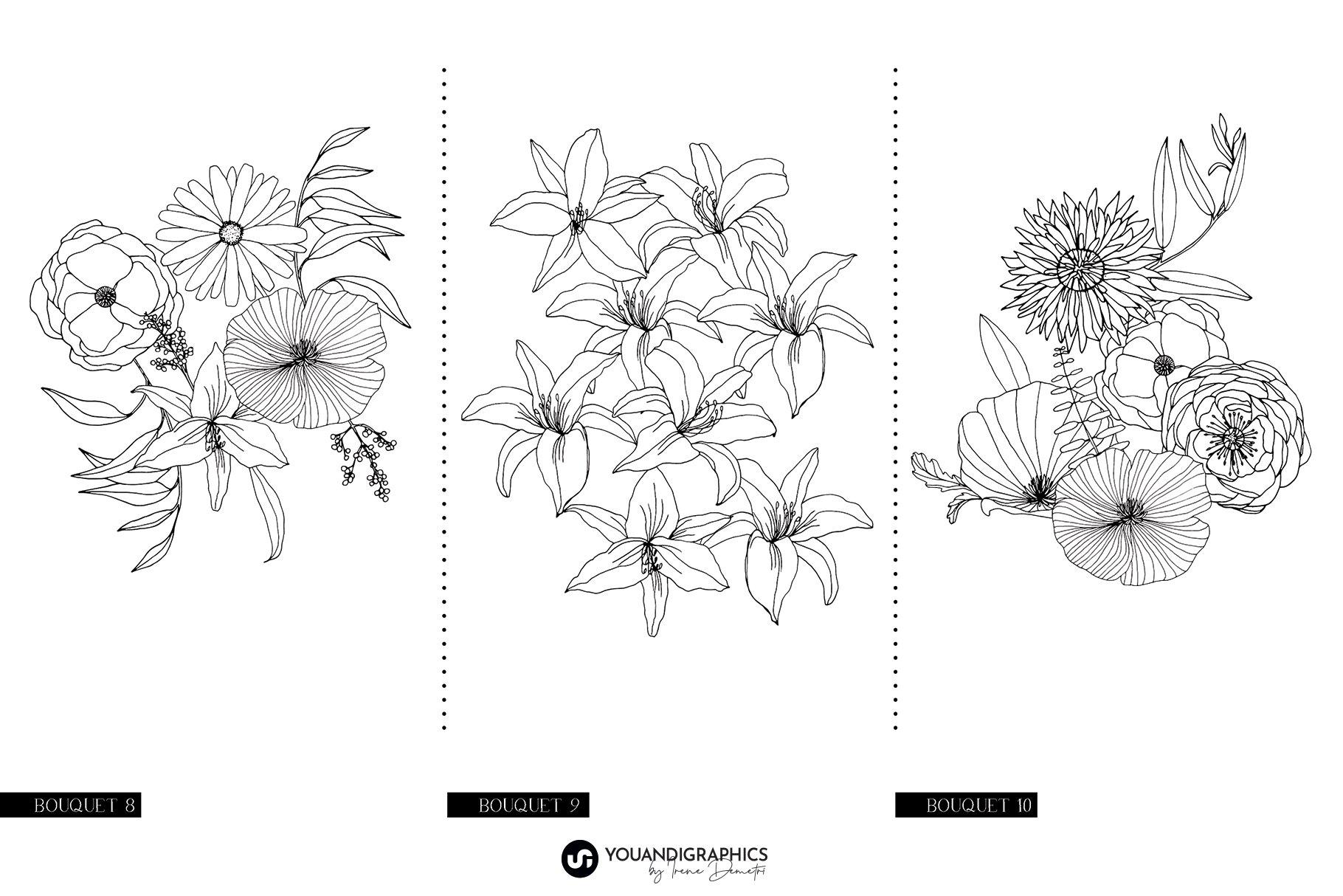 精美手绘花卉花朵无缝隙矢量线稿图案素材 Floral Blast Patterns And Bouquets插图(16)