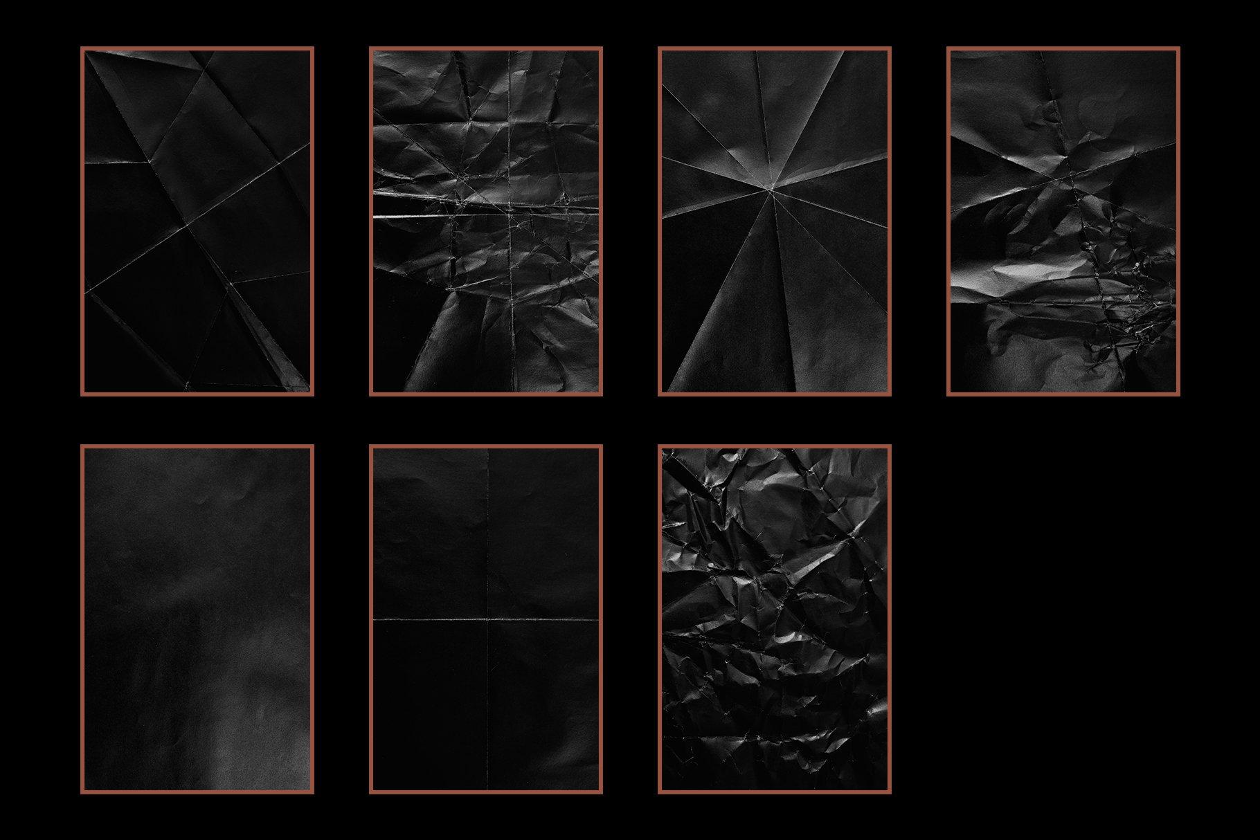 15款高清黑色褶皱折叠纸纹理JPG图片素材 15 Black Paper Textures插图(2)