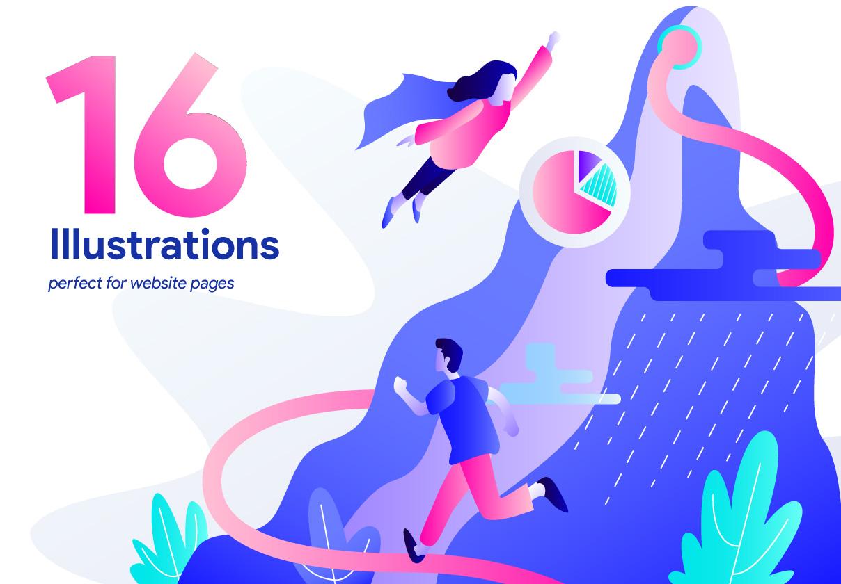 16款精美网页设计矢量概念插画素材 16 Web Page Illustrations插图