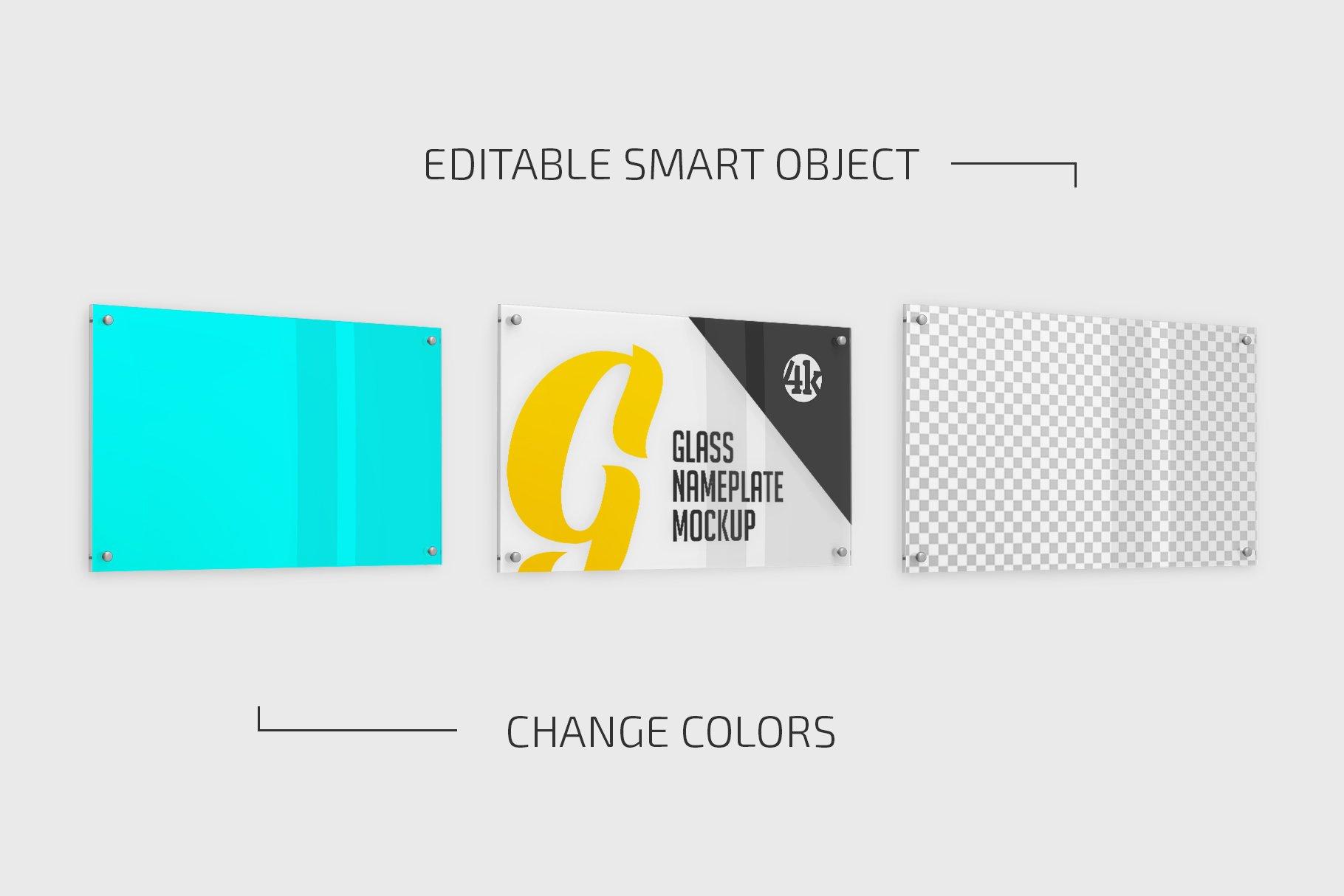 5款矩形玻璃铭牌门牌PSD样机模板 Rectangular Glass Nameplate Mockup插图(1)