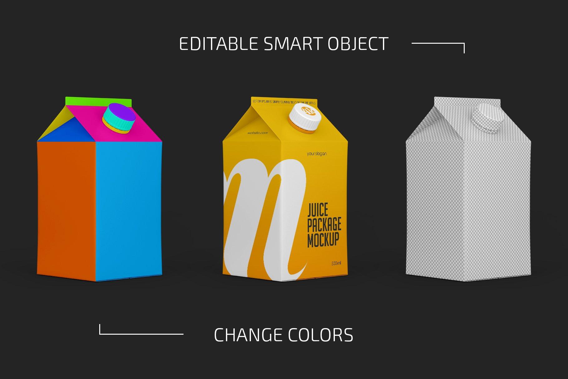 500毫升哑光果汁纸盒包装样机套装 500ml Juice Carton Package Mockup插图(1)